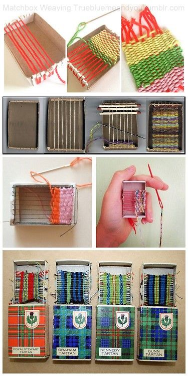 Roundup of 5 Matchbox Weaving Tutorials and Inspiration. From Top to Bottom: Matchbox Weaving by Margaret Muirhead for Homemade City. Excellent Matchbox Weaving Tutorial from Tangle Crafts. Left Photo: Woven Matchbox Whisper Woven by Eben and Sarah o a kickstarter campaign here. Right Photo: Matchbook Weaving by Tumblr Blog marisa-ramirez. DIY Inspiration Matchbox Weaving from The Playful Knitter.
