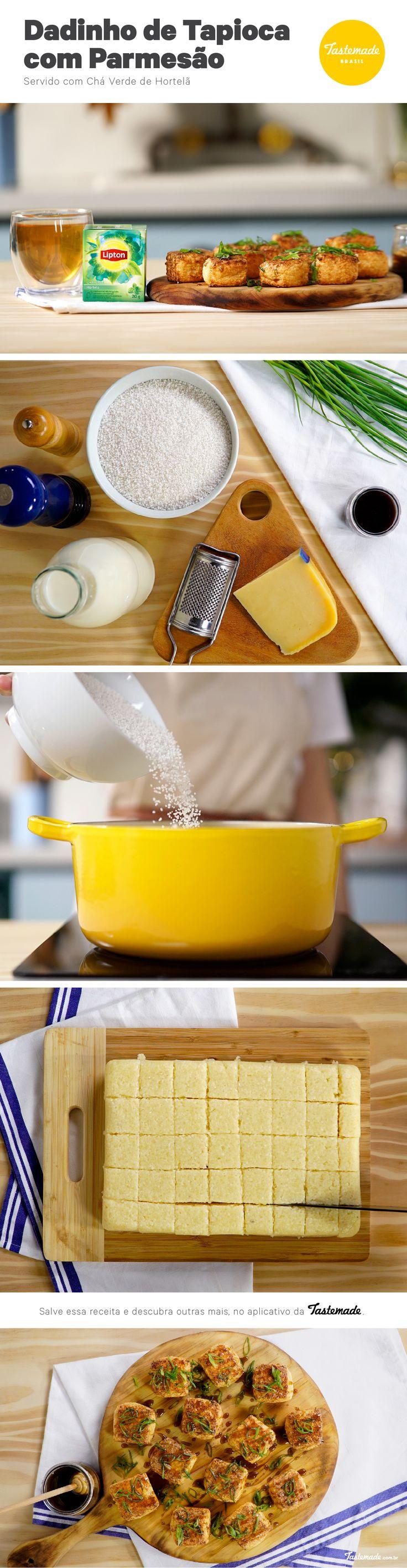Para acompanhar um chá verde com hortelã e receber as visitas, prepare esses dadinhos de tapioca com parmesão.  Receita completa: https://www.tastemade.com.br/videos/dadinhos-de-tapioca-lipton