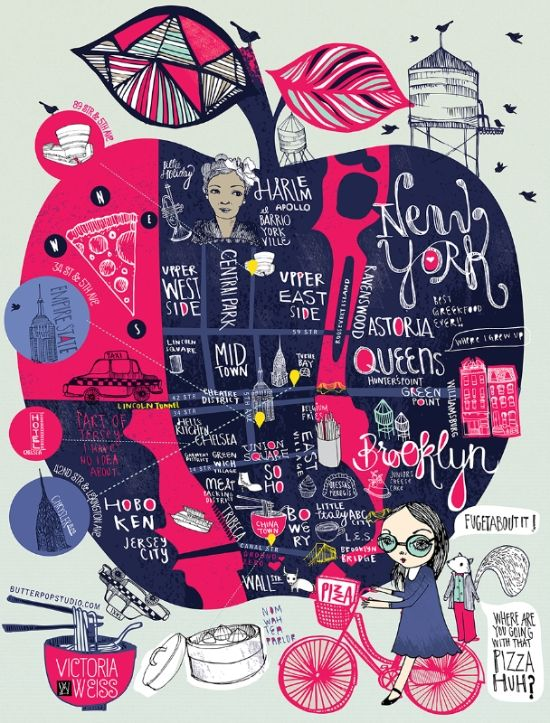 Great NY map by Butterpop Studio, Victoria Weiss