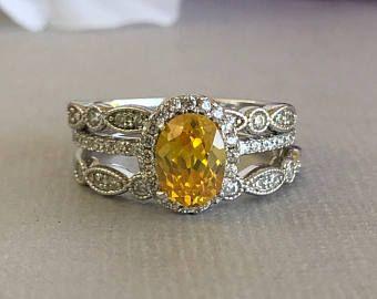 Oval de estilo Art Deco oro citrino simulado diamante compromiso conjunto plata esterlina sólida 3PC lujo boda compromiso promesa banda anillo conjunto