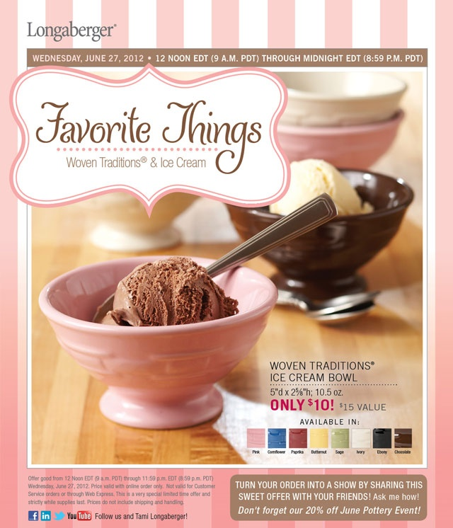 You will love this beautiful pink ice cream bowl order early at www.longaberger.com/mariaammarWednesday Special, Longaberger Products, Favorite Ice, Gift Ideas, Traditional Ice, June 27, Cream Bowls, Ice Cream, Longaberger Ice