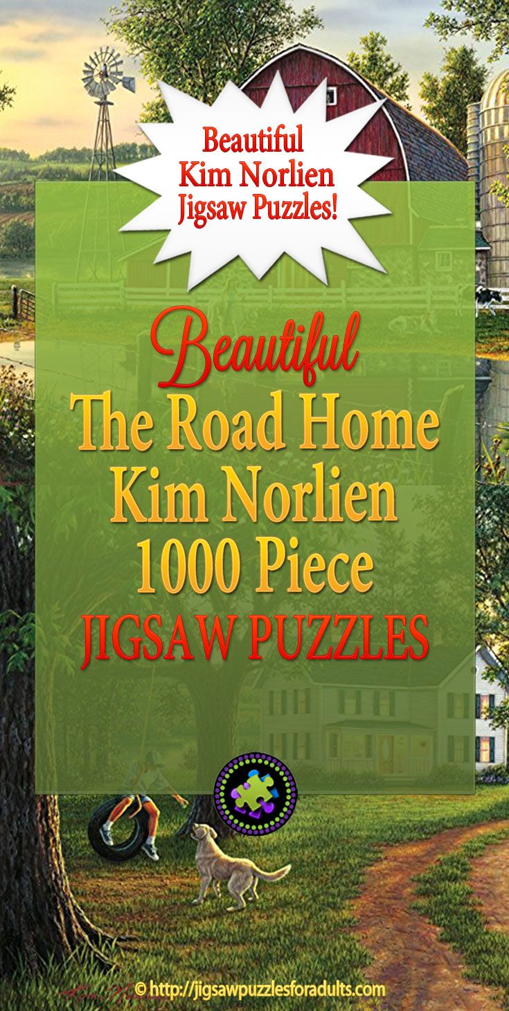 """The Road Home Kim Norlien 1000 Puzzle from the artwork of the """"the painter of peace and tranquility"""" is only one of the many jigsaw puzzles available from this famous artist."""