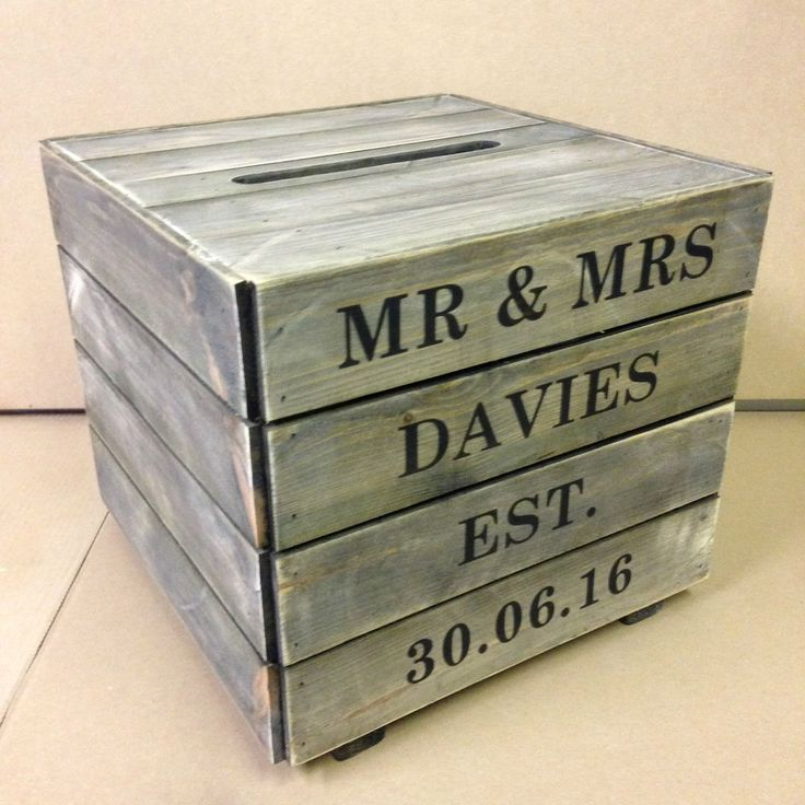 Solid Wood Rustic Wedding Card/Post Box - Hand Made PERSONALISED Formal Text