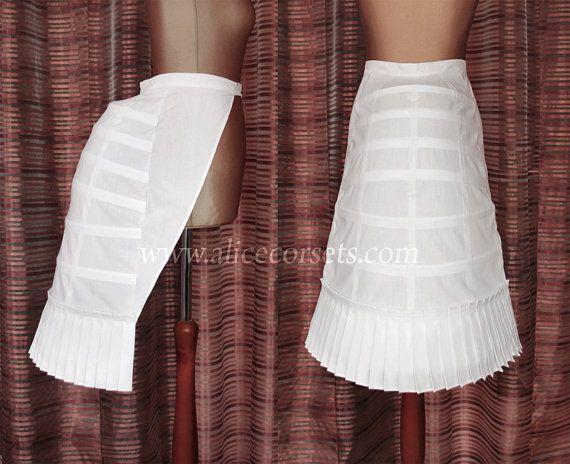 Victoriaanse drukte kooi hoepelrok Tournure ~ Wedding drukte jurk kostuum ~ Edwardian Steampunk Victoriaanse onderkleding