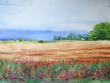 Field after Rain - Watercolor on Paper