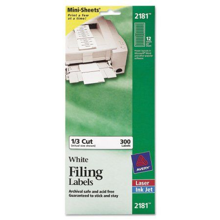 Avery File Folder Labels on Mini Sheets, 2/3 x 3 7/16, White, 300/Pack - AVE2181
