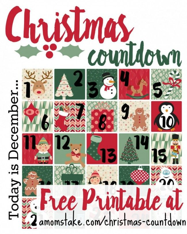 Get your kids excited about Christmas and counting down the days with this free printable Advent calendar.