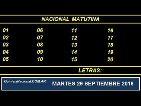 Video Quiniela Nacional Matutina Jueves 29 de Septiembre de 2016 Pizarra del sorteo desde el recinto de Loteria Nacional a las 14:00