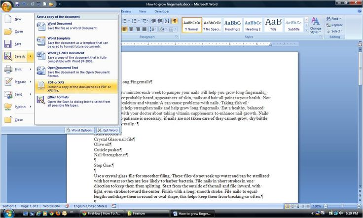 how to save a microsoft word document as a pdf