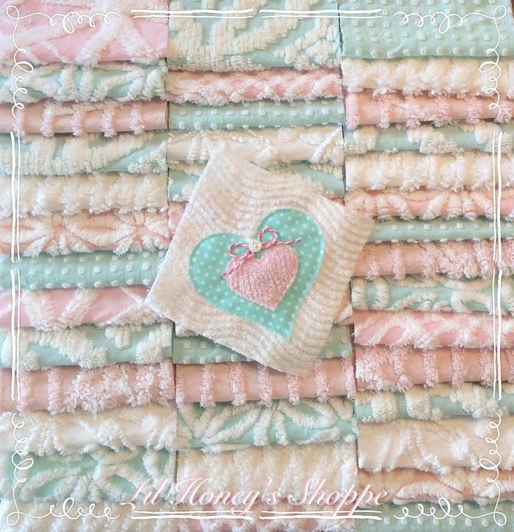 "Chenille fabric quilt squares 42-6"" blocks, Aqua & Pink, very shabby chic, vintage bedspread fabric by lilhoneysshoppe on Etsy"