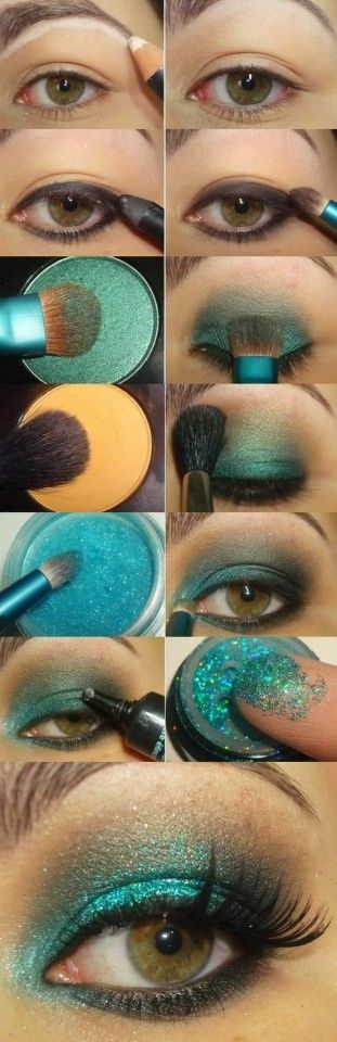 The Best Eye Makeup Tutorials. Pretty peacock colored eye makeup.