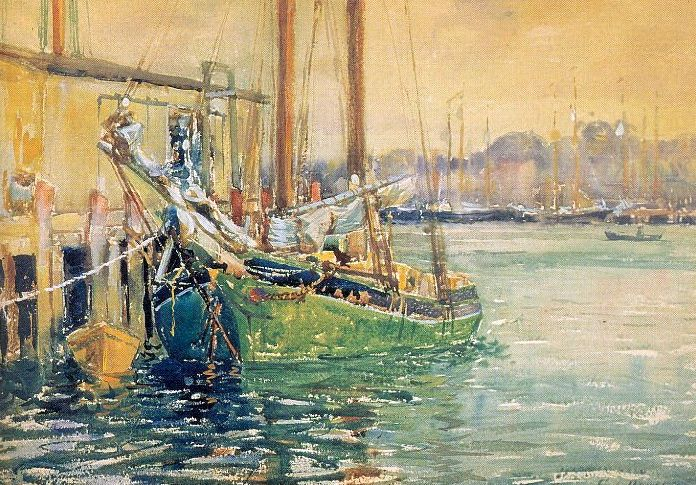 """George Loftus Noyes (1864-1954) was a Canadian born artist who gained fame in the early 20th century as an American Impressionist. Noyes was born in Bothwell, Ontario and died in Petersborough, New Hampshire. He was a prominent member of the Boston School of American Impressionism. (Wikipedia) (""""Gloucester Dock"""" by George Noyes)"""