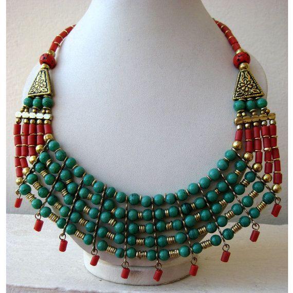 Corail et turquoise collier Bohème/Chunky collier/bulle/déclaration de Collier Collier/Bib Necklace - bijoux en perles