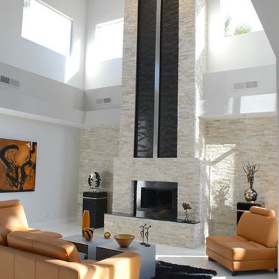 2 Story Modern Fireplace Design Ideas Pictures Remodel