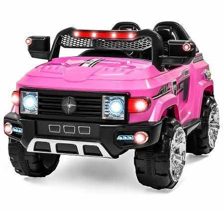#12V MP3 Kids Ride On Truck Car R/c Remote Control, LED Lights AUX and Music Pink #coupons #deals