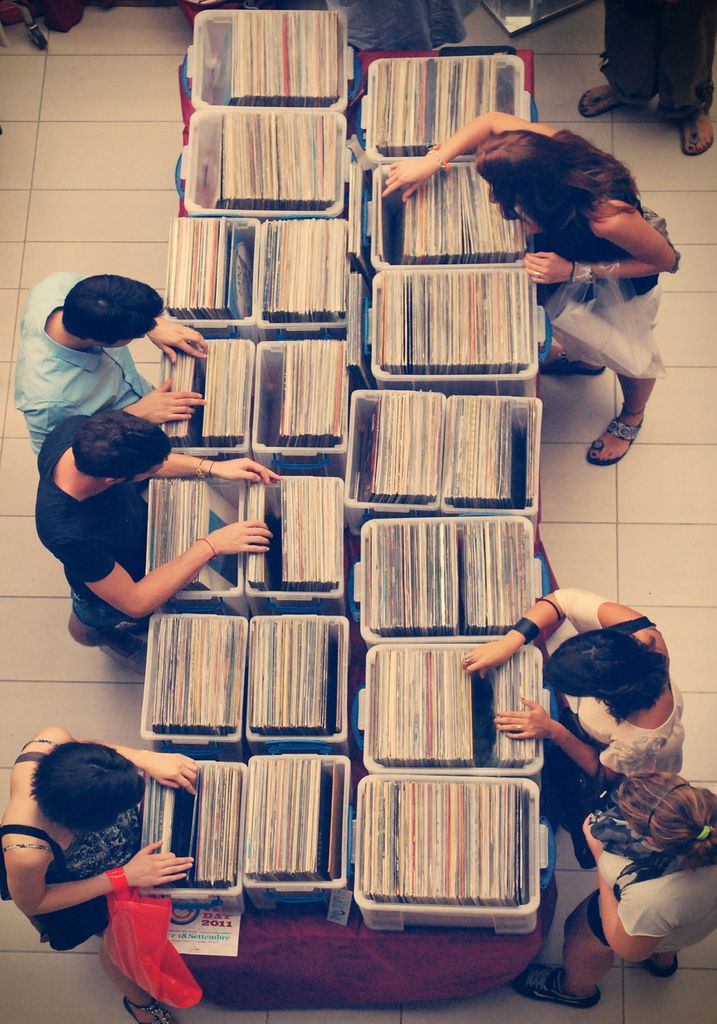 vinyl records digging in a record store