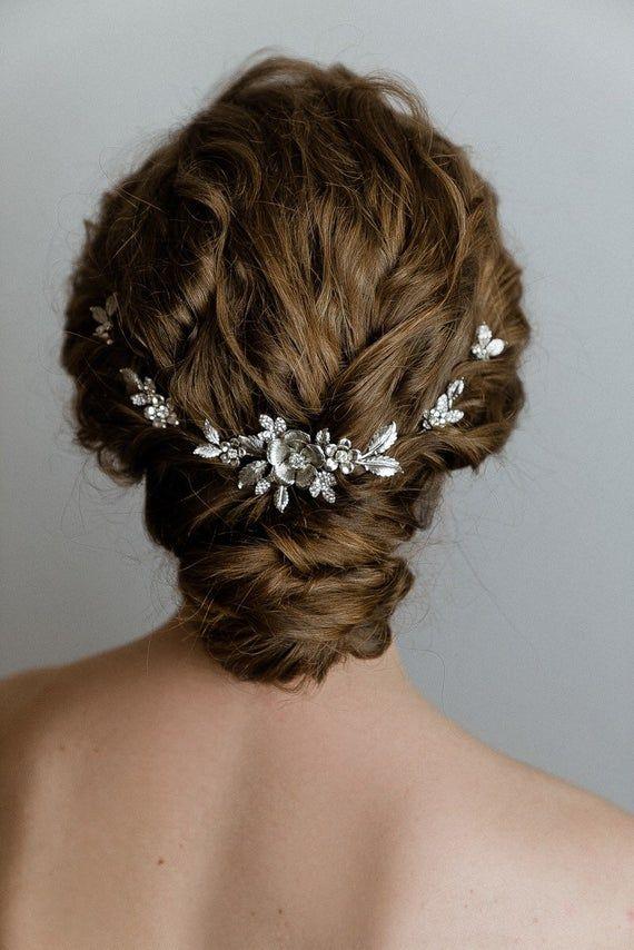 simple bridal hair comb silver leaves hair piece bridal hair comb headpiece floral hair comb Bridal leaf hair vine pearl hair comb