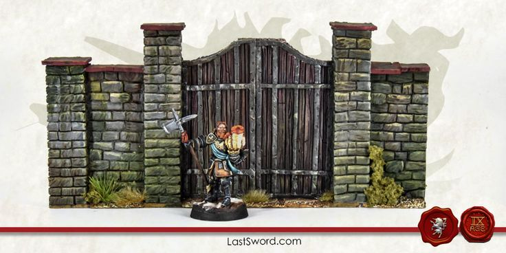 Wooden door sculpted by Comi and painted by Asdarel. Scenery for Warhammer, kings of war, Mordheim, Frostgrave, 9th age, Age of sigmar, and others wargames.