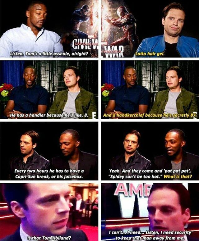 They really love Tom Holland #sebastianstan #anthonymackie #tomholland... It's like they're all naughty siblings