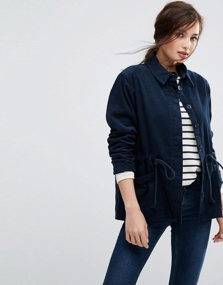 People Tree Organic Cotton Corduroy Shirt Jacket With Pull Cord - Navy