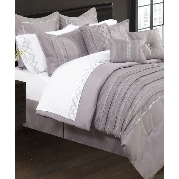 Safdie & Co. Inc. Taupe Seven-Piece Comforter Set (€63) ❤ liked on Polyvore featuring home, bed & bath, bedding, comforters, light brown bedding, 7 piece comforter set, 7pc comforter set, tan comforter and taupe comforter set