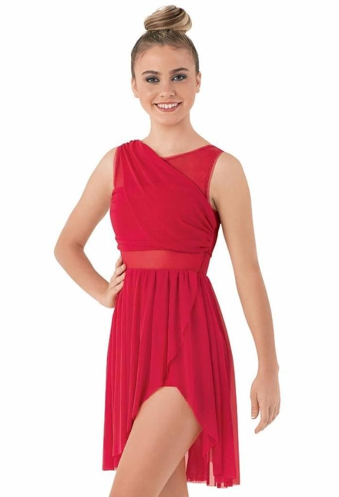 Dance Costume Large Child Red Dress Lyrical Contemporary Balera Solo Competition #Balera