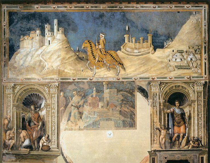 Мартини, Симоне (Сиена, 1284 - Авиньон, 1344) Сиена: Фреска в Палаццо Publico Фреско, 1315-1321 Сала дель Mappamondo (Западная стена), Палаццо Publico, Сиена