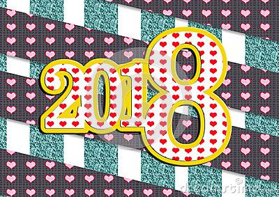 Happy new year 2018 greeting card. Bright abstract background with large colorful spots and dark background.b