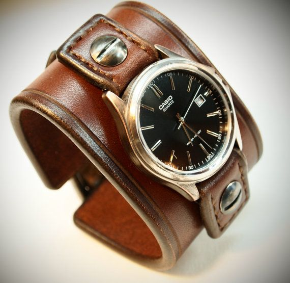 Leather cuff Watch Casio Vintage Brown bridle leather Wrist watch Custom made for YOU in NYC by Freddie Matara