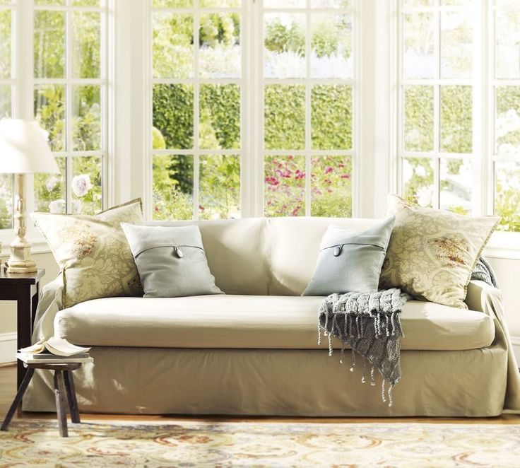 Small Sectional Sofa Pottery Barn Cotton Linen Separate Seat Dropcloth Slipcover Sofa Cover x