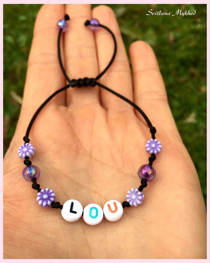 """Bracelet """"Lou"""" . Bracelet avec message ou prenom personnalisable perles acryliques multicolores : Bijoux enfants par perles-et-couronnes"""