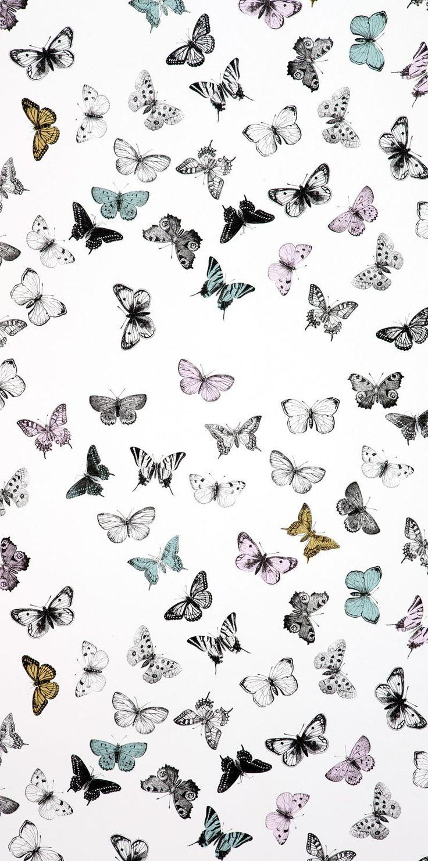 Vackert tecknade fjärilar som flyger över väggen. Tapeten lämpar sig till att tapetsera alla väggar med som att göra en fondvägg.   Teknisk info: Tillverkad