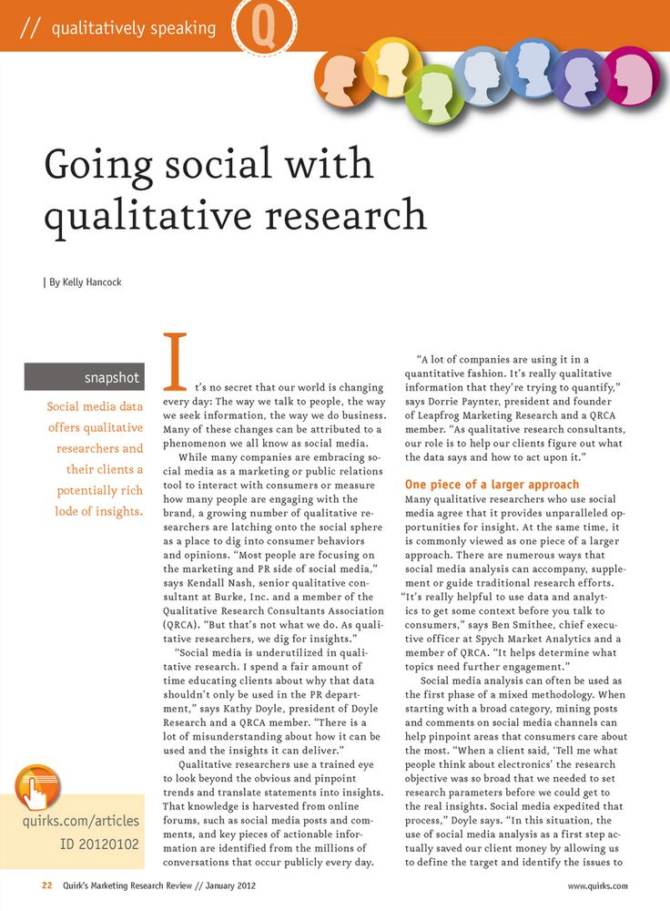 a description of qualitative marketing research So what is the difference between qualitative research and  such as large  numbers of respondents and descriptive findings are required.