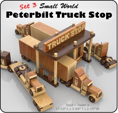 Set 3 - Small World Peterbilt Truck Stop Wood Toy Plan Set