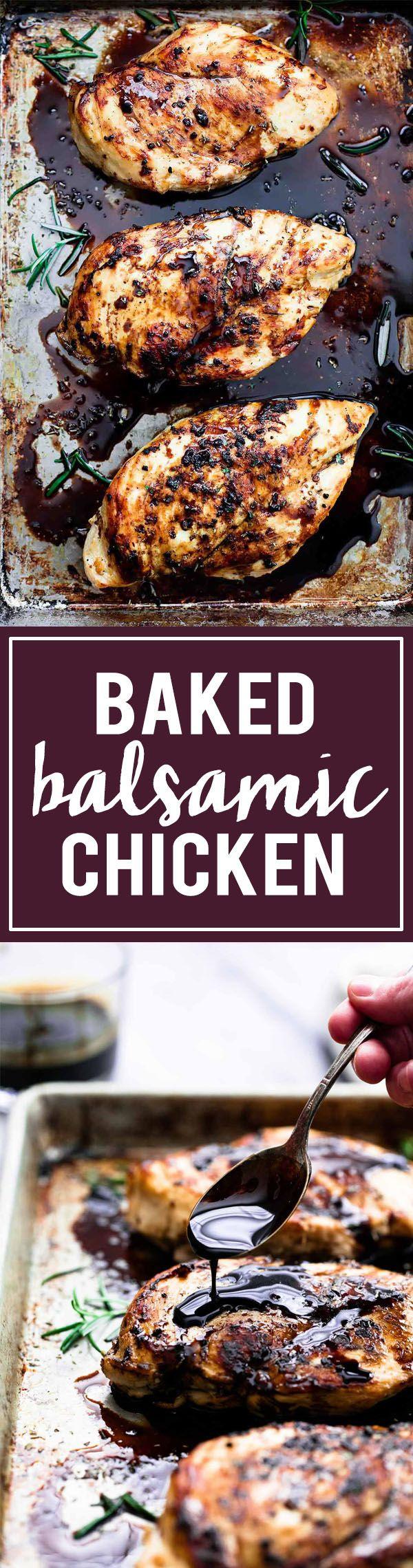 Easy Healthy 30 Minute Baked Balsamic Chicken | Creme de la Crumb Replace sugar--maybe coconut sugar?