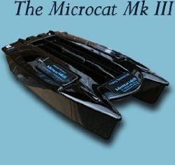 Angling Technics Microcat Bait Boat MKII My Rating 92 out of 100. Dimensions: (L x W x H) 69cm, 37cm, 17cm. Range: 600m+  Battery life: 70 mins continuous running time. Bait capacity:  A massive 4kg bait capacity. Powered: Jet Propelled. Unique feature: 4 ultrasonic sealed zero maintenance jet pumps – which makes this boat fast and very quiet.  http://bestbaitforcarpfishing.com/bait-boat-reviews-continued-2