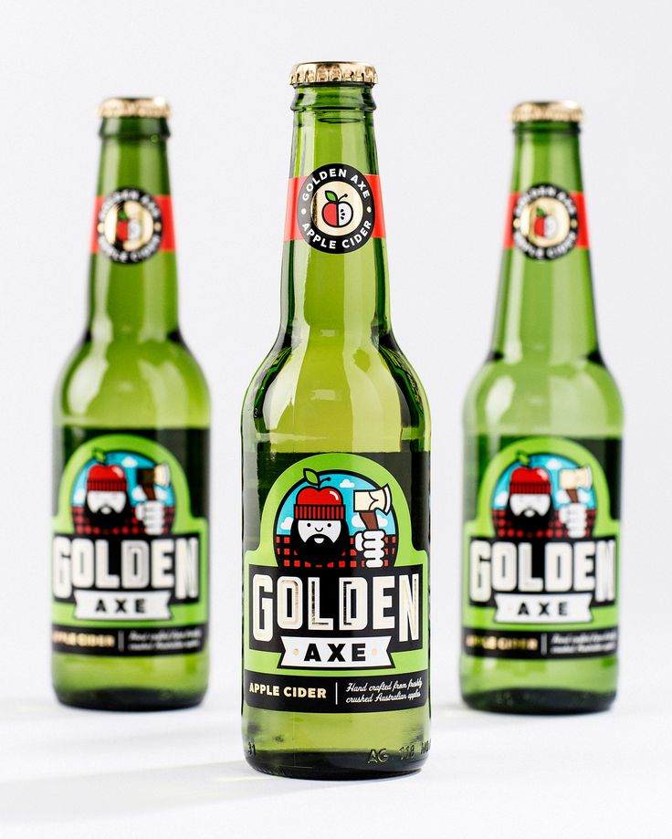Golden Axe Apple Cider by Mikey Burton  Brand design for Golden Axe Apple Cider, by the Australia-based, South East Brewing Company. Some think this is a self portrait of me, but I usually deny those accusations.