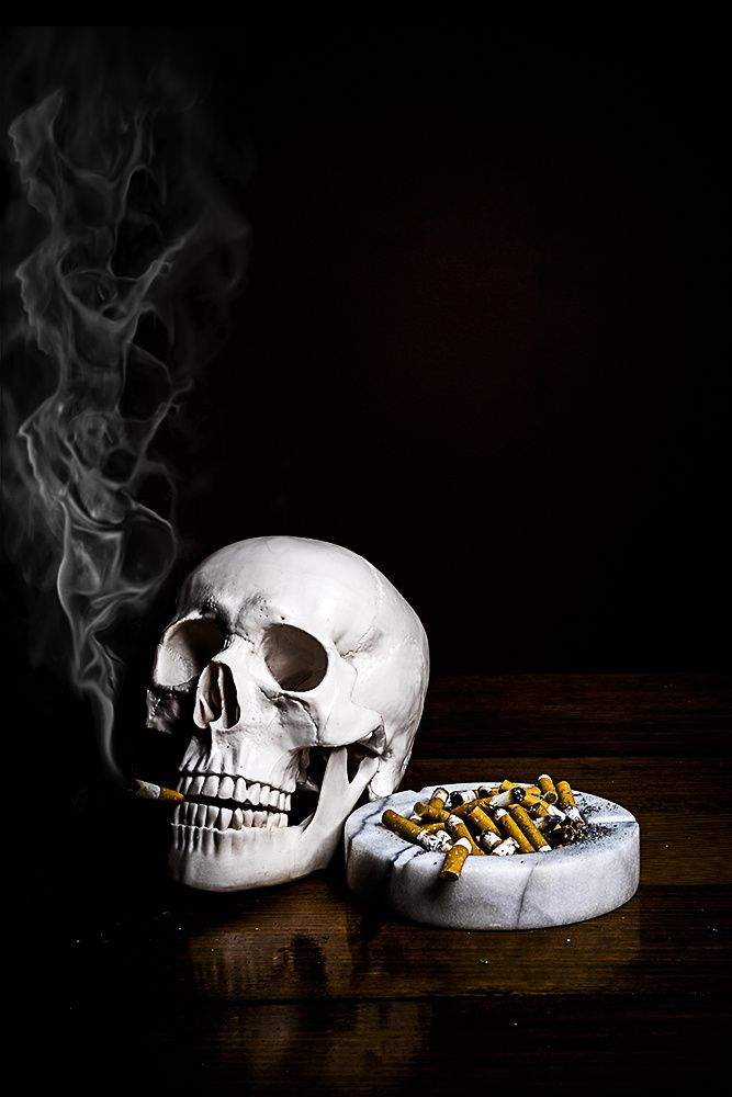 SMOKING IS ADDICTIVE found object sculpture and still life photograph by Cheech Sanchez 2014 #stilllife still life #vanitas Vanitas #skull Skull