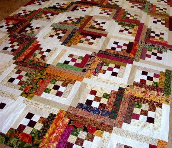 LOG CABIN in the WOODS Quilt Top von Quiltingfamily auf Etsy