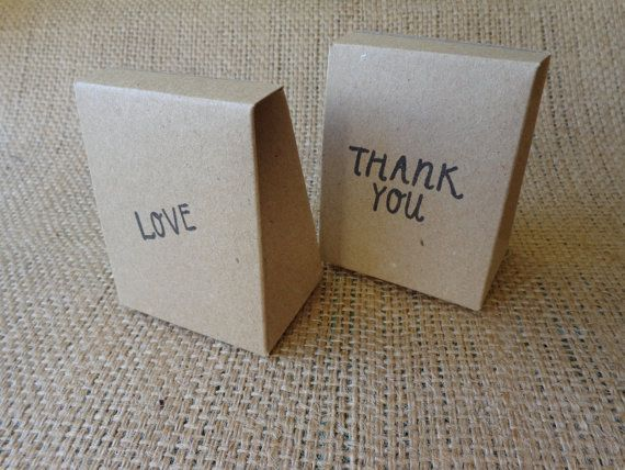 50 STAMPED BOMBONIERE BOXES Mini Natural Brown by CreateTheDate, $76.49