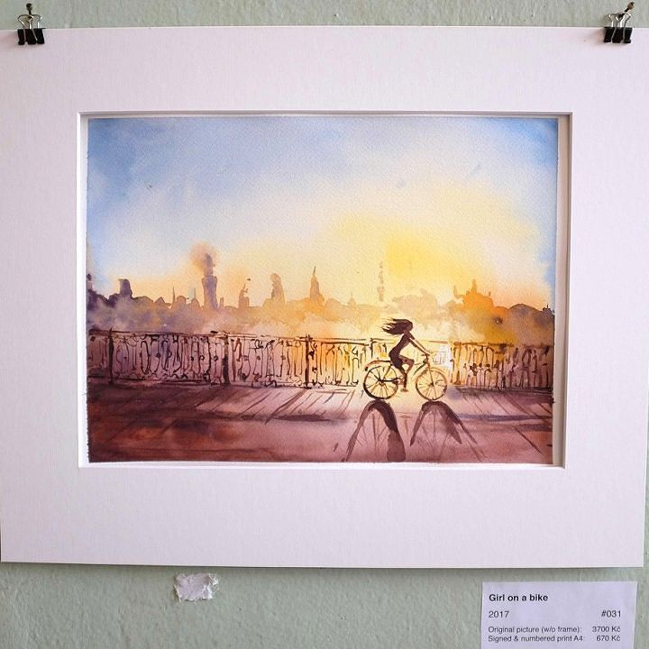 One sunny girl on a bike. My exhibition is on till 19-th of April in Ye's cafe Prague 7. So is the giveaway in my profile there's an active link.