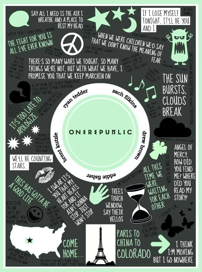 <3 OneRepublic <<<< my number 1 favorite band. I love their music. This an awesome lyric collage, whoever created it :))