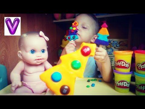 Пластилин Плей До. Делаем мороженое Плей До - эскимо. Пластилин для детей. Кукла кушает. - YouTube