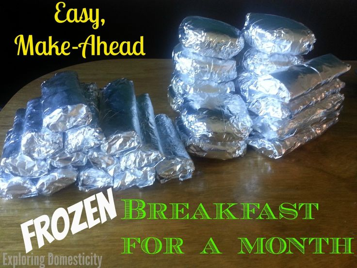Easy make-ahead frozen breakfast ideas. Don't forget the most important meal of the day, plan for it! Make these freezer breakfasts and enjoy all month! #frozen #breakfast
