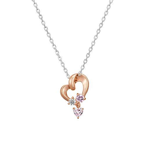 優しい曲線が美しくあわいかがやきがエレガントなピンクシルバーネックレス♡キラキラなジュエリーまとめ