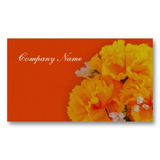 Painted Yellow Flowers on Orange Business Card Template