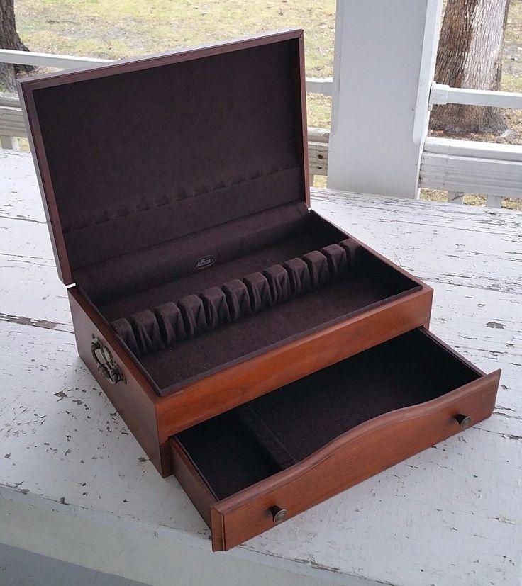 Vintage Wood Blue Anti Tarnish Felt Silverware Flatware Storage Box Case  Chest | Flatware Storage And Cutlery