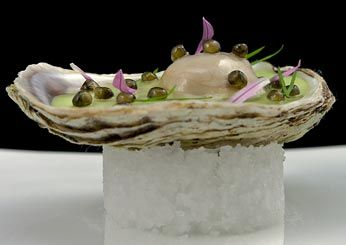 Royal Sterling Caviar Vichyssoise of Caraquet Oysters  Daniel Humm (an F Best New Chef 2005) of Eleven Madison Park juxtaposes extravagance (caviar pearls, oyster gelée) with classic French comfort food (a vichyssoise of potatoes and leeks)—all inside an oyster.