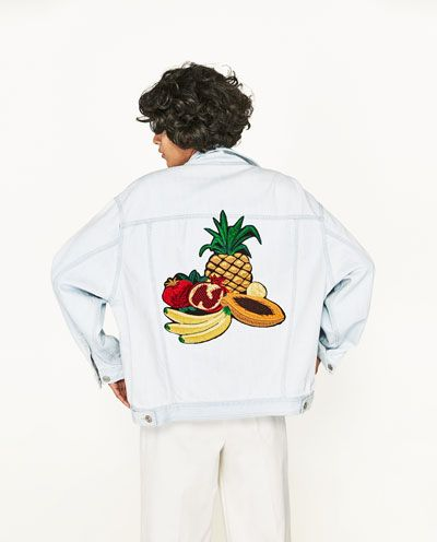 Image 2 of DENIM JACKET WITH FRUIT EMBROIDERY from Zara
