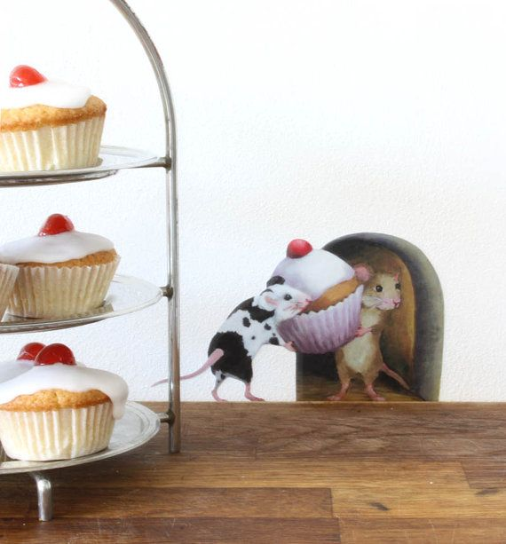 Mice with a Cupcake Mousehole Wall Sticker by StickersfromLola